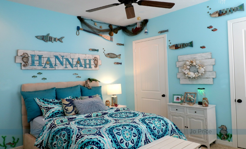 2hannah after - bed and dresser - ocean and beach decor IG
